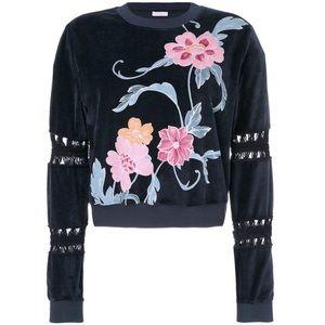 See By Chloe Blue Velvet Floral Crewneck Sweater